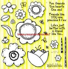 WILL N WAY Clear Stamps FLOWERS and FRIENDS Flowers, Two Friends 25 Stamps