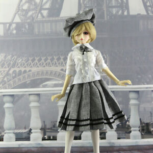 1/4MSD 1/3SD BJD Outfit Doll Clothes British Style Swallowtail T-shirt+Skirt+Hat