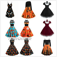 Women Halloween Pumpkin Skater Dress Vintage Swing Dress Cosplay Party Costume