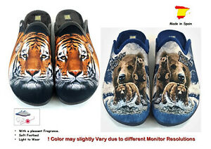 New Men's Slippers Slip-On Mules Clogs with Fragrance & Motifs´´ Bear & Tiger ``