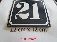 Hausnummer Nr. 21 weisse Zahl auf blauem Hintergrund 12 cm x 12 cm Emaille Neu