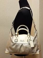 Authentic COACH Ashley Horse-Carriage Ivory/Khaki Patent/Sateen Satchel