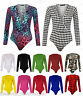 Ladies Womens Wrap Over Long Sleeve Plunge V Neck Print Stretch Bodysuit Leotard