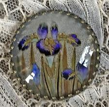 "JAPANESE IRIS Glass Dome Studio BUTTON 1 1/4"" Vintage Satsuma Floral Image Art"