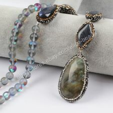 "1Pcs 30"" CZ Paved Natural Labradorite Beads 8mm Manmade Quartz Necklace HJA788"