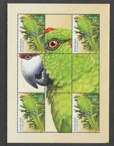 NORFOLK ISLAND Australia 2009 GREEN PARROT Limited Edition SHEETLET 4 BIRDS MNH