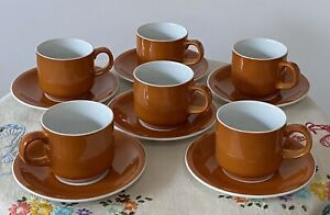 Set of 6 Vintage Gempo Japan Fine China Small Cup/Saucer Set: Retro Burnt Orange