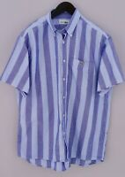 Men Lacoste Devanlay Casual Shirt Blue Short Sleeves Cotton 41 L VCA767