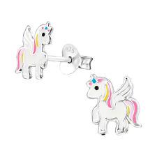 925 Sterling Silver Unicorn White Pink Light Pink Kids Girls Stud Earring Boxed