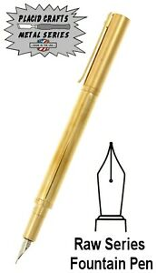 Placid Crafts Handmade Raw Series Brass Fountain Pen / #372