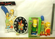 "1990 Simpsons Clock + 9"" Bart Coin Bank + Standee + Lisa Marge Vinyl Dolls + Pin"