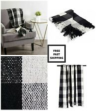 100% Cotton Elegant Soft Buffalo Check Throw Blanket Cozy for Indoor/Outdoor Use