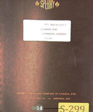 Speery C92160 Jig Borer Numerical Control Operation Maintenance Amp Parts Manual