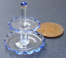 1:12 Scale Two Tier Fine Glass Cake Stand Dolls House Miniature Accessory G17b