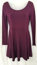 Ladies Womens Girls H&M Burgundy Red Long Sleeve Skater Flared Swing Dress New
