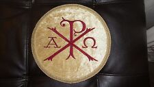 Chi-Rho Vestment Center 9in on Gold Velvet Circle & Gold trim With red Chi-Rho