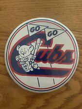 "Vintage CHICAGO CUBS Large 6"" Pinback Button Pin GO GO CUBS 1970s Era"