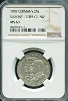 SAXONY - FANTASTIC LEIPZIG UNIVERSITY SILVER 2 MARK, 1909, NGC GRADED MS 63