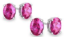 AamiraA 925 Sterling Silver Genuine Pink Sapphire Earrings