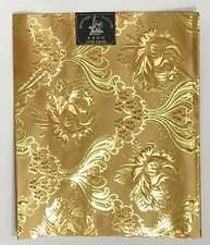 "African Damask/ Metallic Jacquard/ Headtie, Gele Fabric - Gold ""Blooms"", ~2 Yds"