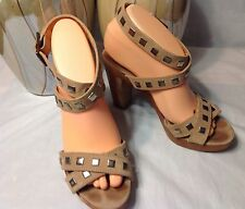 THEORY womens nude leather platform sandals size 38