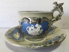 Villeroy & Boch Mettlach Cup & Saucer Jasperware Silver Blue Griffon Cherubs