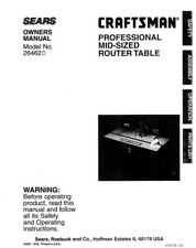 Craftsman 26462 Router Table Owners Instruction Manual