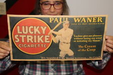 "Vintage 1940's Lucky Strike Cigarettes Tobacco Baseball Paul Waner 17"" Sign"