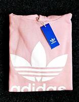 Adidas Originals Men's Trefoil Fleece HOODIE Sweatshirt Jumper Pink White NEW