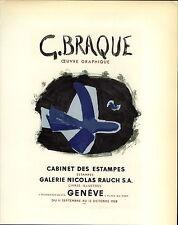 1959 Mini Poster Lithograph ORIGINAL Print Georges Braque Nicolas Rauch Estampes