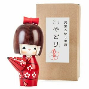 """Japanese KOKESHI Wooden Doll Creative 5.5""""H With Umbrella / Made in Japan"""
