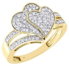 Diamond Heart Cocktail Ring 10K Yellow Gold Round Pave Fashion Band 1/3 Tcw.