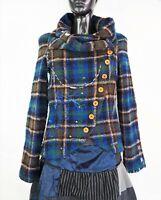 DESIGUAL #06E2947 Wool Blend Plaid Short Coat Jacket w/ Elbow Patches