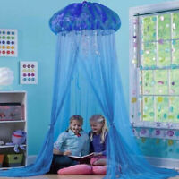 Kids Blue Crib Bed Canopy Bedcover Mosquito Net Round Dome Tent Nursery Room