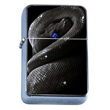Windproof Refillable Flip Top Oil Lighter Black Snake D1 Reptile Desert Fangs