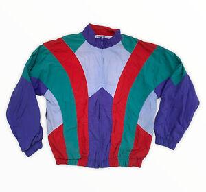 Vintage 80s Reebok Color Block Track Windbreaker Jacket Mesh full lining LG