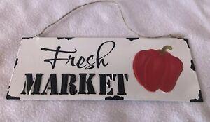 Fresh Market Sign Vegetable Tin Rustic Farmhouse Country Farm Bell Pepper