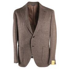 NWT $1525 G.ABO NAPOLI Brown Check Soft Flannel Wool Sport Coat 42 R Gabo