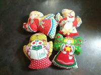 Vintage Hand Made Quilt Style Pillow Christmas Ornaments Angels Lot of 4