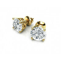 1.0 ct Round Cut Solitaire Stud Earrings Solid 14k Real Yellow Gold Screw Back