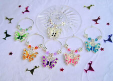 6 Enamel Butterfly Wine Glass Charms Finished With Swarovski Elements Crystals