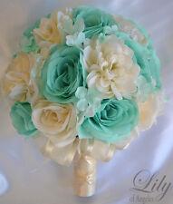 17 Piece Package Silk Flower Wedding Bridal Bouquets POOL Robin's TIFFANY BLUE