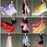 Women Gradient Scarf Stole Wrap Shawl Soft Emulation Mulberry Silk Scarves Scarf