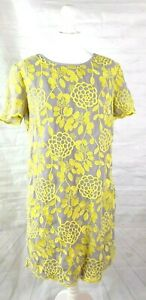 Great Plains Shift Tea Dress Grey with Yellow Embroidery BNWT Size XL RRP £90