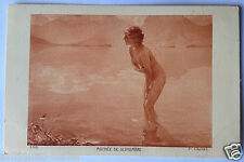 Chabas Blond bathing in lake nude woman salon type original postcard 1910s