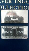 1969  Type I & II  ( 2 ) - 1 oz .999 Fine Silver Art Bars, Foster Mint