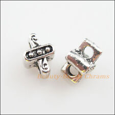 12Pcs Antiqued Silver 2-Hole Cross Spacer Bar Beads Connectors Charms 7x9.5mm