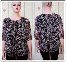 La Mode Womens Top Blouse OPEN WRAP BACK Cheetah leopard Sheer chiffon  ( 1X  )