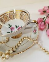 Bavaria Vintage Bone China Footed Tea Cup and Saucer - Gold and Pink