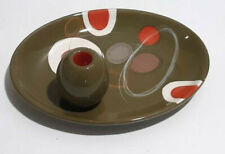 """Colorful Clay Art Olive Ceramic Tray Platter MCM Mid-Century Modern 9"""" Long Rare"""
